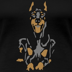 Dobermann Pinscher Black Down Standing Ears T-Shirts - Frauen Premium T-Shirt