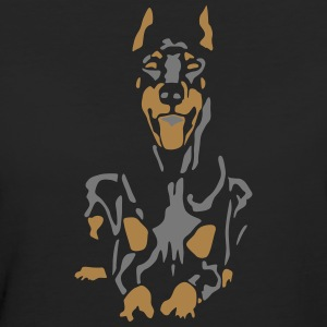Dobermann Pinscher Black Down Standing Ears Magliette - T-shirt ecologica da donna