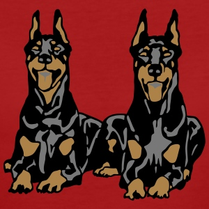 Dobermann Pinscher Black Down Standing Ears T-shirts - Ekologisk T-shirt dam