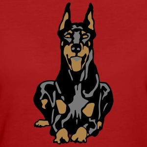 Dobermann Pinscher Black Down Standing Ears T-shirts - Organic damer