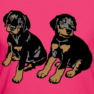 Dobermann Pinscher Black Sitting Puppies  T-shirts - Ekologisk T-shirt dam