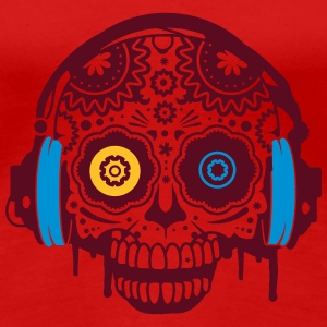 A Sugar Skull with headphones  T-Shirts - Women's Premium T-Shirt
