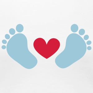 Baby feet, heart, gift, birth, mum, dad, boy, girl T-Shirts - Women's Premium T-Shirt