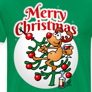 Een rendier in een Kerstboom - Merry Christmas T-shirts - Mannen Premium T-shirt
