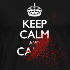 keep calm and carry on blood spatter zombie holde rolig og bære på blod sprut zombie T-skjorter