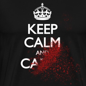 keep calm and carry on blood spatter zombie holde rolig og bære på blod sprut zombie T-skjorter - Premium T-skjorte for menn