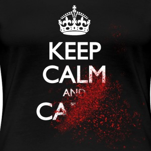 keep calm and carry on blood spatter zombie mantener la calma y seguir zombie de salpicaduras de sangre Camisetas - Camiseta premium mujer