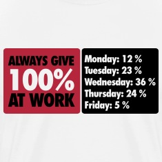 Always give 100 % at work - Office humor T-Shirts