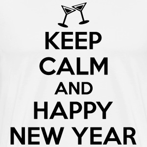 Keep calm and happy new year T-shirts - Herre premium T-shirt