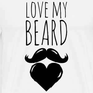 funny love my crazy hipster cool beard moustache T-Shirts - Men's Premium T-Shirt