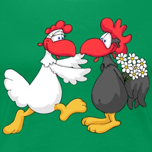 Happy Chicken Couple T-Shirts - Women's Premium T-Shirt