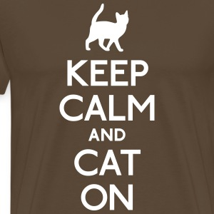 keep calm and cat on holde ro og katt på T-skjorter - Premium T-skjorte for menn