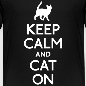 keep calm and cat on holde ro og katt på Skjorter - Premium T-skjorte for barn