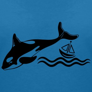 Wal, Schiff, Meer, whale T-Shirts - Women's V-Neck T-Shirt