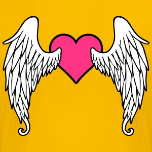 Angel Wings Feather Heart T-shirts - Premium-T-shirt dam