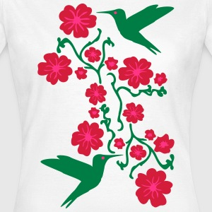 Hummingbirds with Flower T-shirts - T-shirt dam