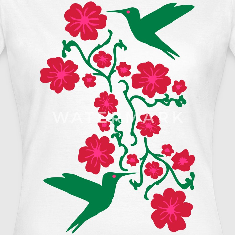 Hummingbirds with Flower Camisetas - Camiseta mujer