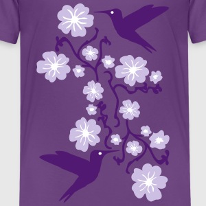 Hummingbirds with Flower T-shirts - Premium-T-shirt tonåring