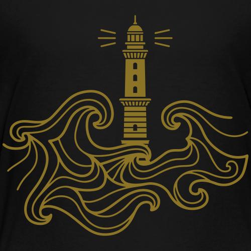 Leuchtturm Warnemünde mit Wellen