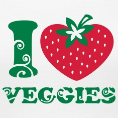 I heart Veggies, love, like strawberry, vegan, eco T-Shirts
