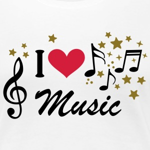 I love Music.Notenschlüssel Noten Musik T-Shirts - Frauen Premium T-Shirt