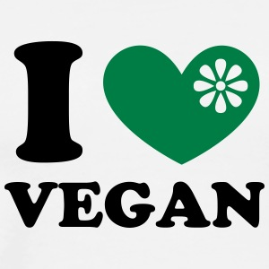 I heart vegan, vegetarien, organic green food, eco T-shirts - Herre premium T-shirt