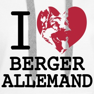 I love Berger Allemand Sweat-shirts - Sweat-shirt à capuche Premium pour femmes