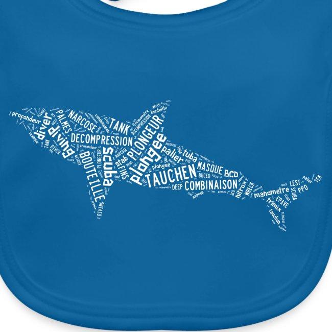 Bavoir Sharktag Bleu
