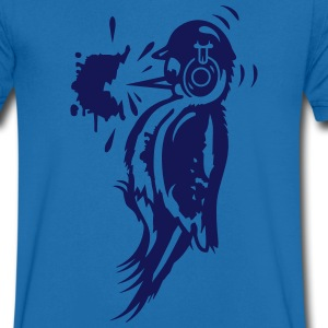 A woodpecker with a helmet and ear protection T-Shirts - Men's V-Neck T-Shirt