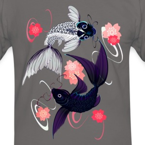 Yin and Yang Koi and Cherry Blossoms - Männer Kontrast-T-Shirt
