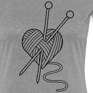 i love knitting yarn heart knit needlework T-Shirts - Women's Premium T-Shirt