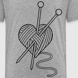 i love knitting yarn heart knit needlework Shirts - Kids' Premium T-Shirt