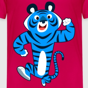 Big Blue Cartoon Tiger by Cheerful Madness!! Shirts - Kids' Premium T-Shirt