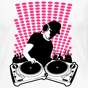 DJ with Turntables and background Long Sleeve Shirts - Women's Premium Longsleeve Shirt