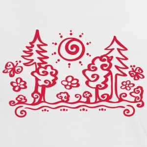 Forest sun tree holiday holidays hiking summer T-shirts - Kontrast-T-shirt dam