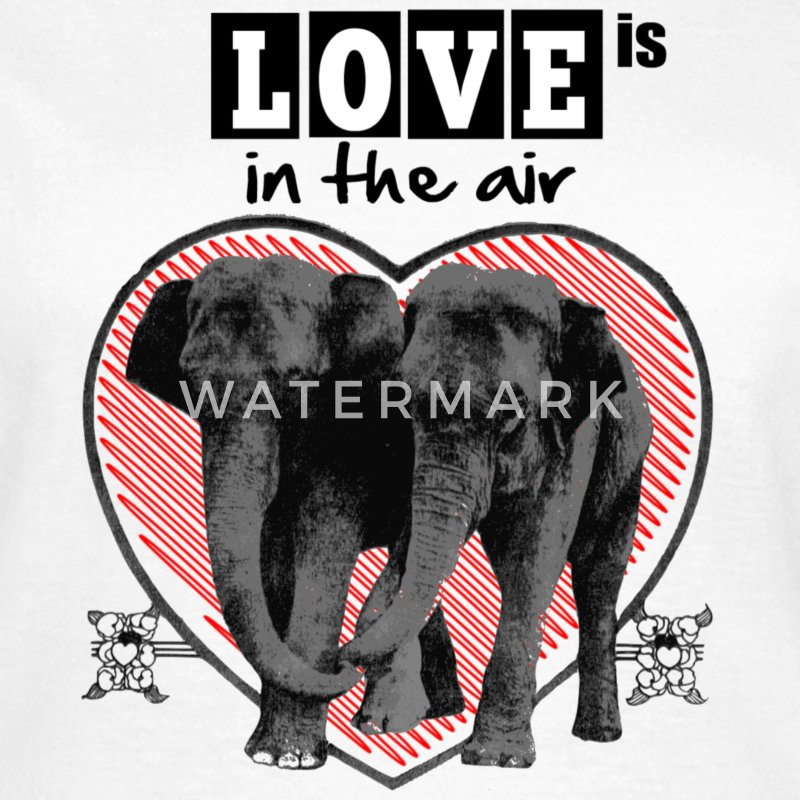 love-valentine-day-heart-elephant-white-red-design Magliette - Maglietta da donna
