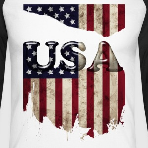 usa_grunge3 Long sleeve shirts - Men's Long Sleeve Baseball T-Shirt