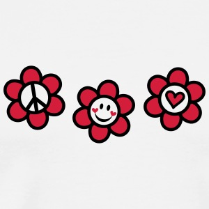 Peace Love Happiness Free Summer Festival Flower  Tee shirts - T-shirt Premium Homme