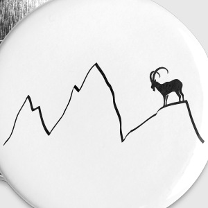 ibex capricorn mountains alps climbing goat sheep  Buttons - Buttons large 56 mm