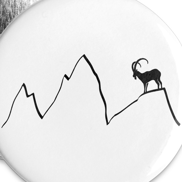 bouquetin montagnes chamois montée capricorne alps Badges - Badge grand 56 mm