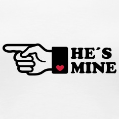 He is mine heart boyriend like hands gift Finger  T-Shirts