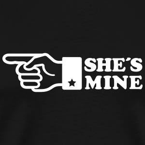 Finger She is mine! girlfriend like hands gift fun T-Shirts - Men's Premium T-Shirt