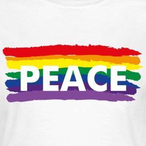 Rainbow flag + peace text - Women's T-Shirt