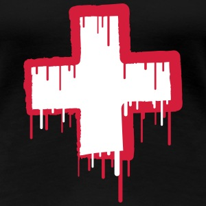Cool Switzerland Text Cross T-Shirts - Women's Premium T-Shirt