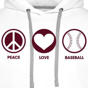 Peace Love Baseball Sweat-shirts - Sweat-shirt à capuche Premium pour hommes