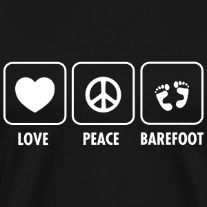 Love, Peace, Barefoot Tee shirts - T-shirt Premium Homme