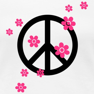 Peace Flowers Love Freedom Symbol Summer Hippie T-Shirts - Women's Premium T-Shirt