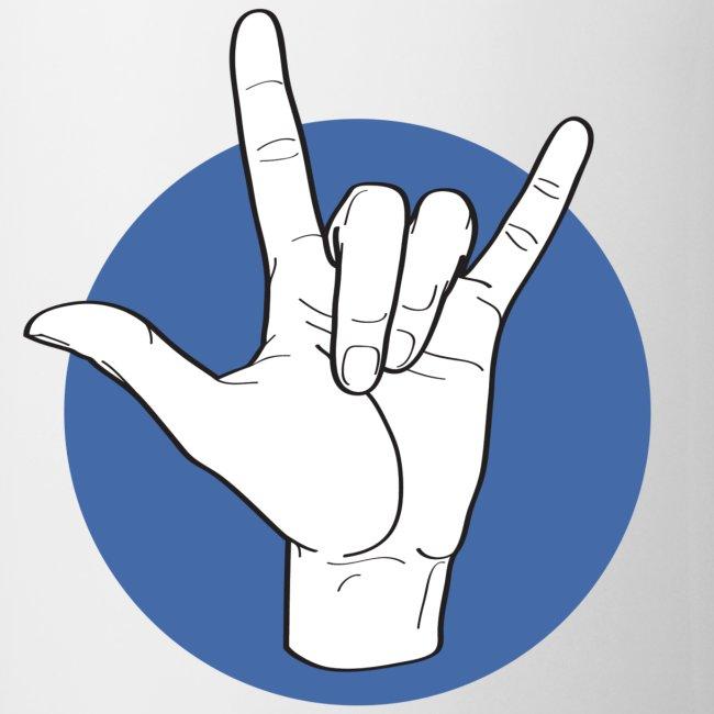 Fingeralphabet ILY white / blue