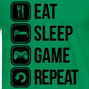 eat sleep game repeat spiele T-Shirts - Männer Premium T-Shirt