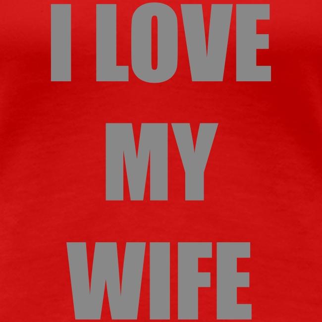 Lesben T-Shirt Shop: I Love my Wife (Glitter Silber)